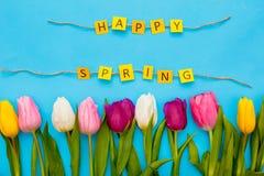 Objets traditionnels de Pâques d'isolement le ressort heureux de tulipes bleues de fond photos stock