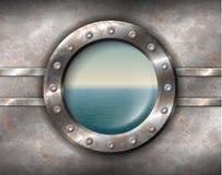 Oblò arrugginito con vista sul mare illustrazione di stock
