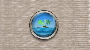 Oblò astratto della nave che trascura l'isola dell'palma-albero e illustrazione vettoriale
