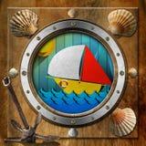 Oblò del metallo con la barca a vela Immagine Stock