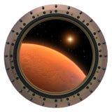 Oblò del veicolo spaziale di Marte. Fotografia Stock