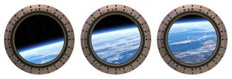 Oblò della stazione spaziale scena 3d Fotografie Stock Libere da Diritti