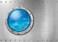 Oblò di bathyscaph o del sottomarino subacqueo immagini stock