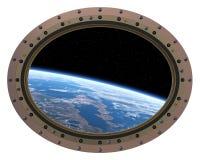 Oblò futuristico della stazione spaziale Vista da spazio Fotografia Stock