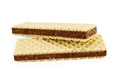 Oblaten mit einer Schicht poröser Schokolade stockbild