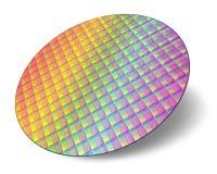 Oblea de silicio con memorias del procesador Imagen de archivo