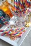 Oblea espiral del arco iris para el partido de los niños Imágenes de archivo libres de regalías