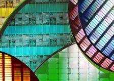 Obleas de silicio - electrónica Imagen de archivo