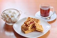 Obleas del café y del azúcar Imagenes de archivo