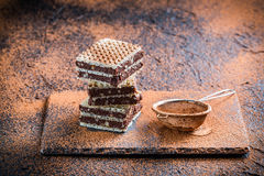 Obleas hechas en casa con el chocolate Imagenes de archivo