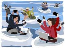 Obliczać zbrojących cyfrowych koczowników lata ich następni miejsca pracy ilustracja wektor