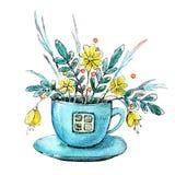Oblicza akwarelę przedstawia dom w herbacianej filiżanki filiżance Projekta pojęcie dla herbaty, kawiarnia, restauracja, druk, tł royalty ilustracja