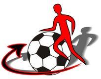 Oblicza gracza piłki nożnej z piłki nożnej piłką (symbolizuje ziemię) Obrazy Royalty Free