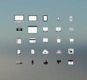 Obliczać technolgy i podaniowe ikony Fotografia Royalty Free