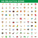 100 obligation icons set, cartoon style. 100 obligation icons set in cartoon style for any design vector illustration stock illustration