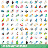 100 obligation icons set, isometric 3d style. 100 obligation icons set in isometric 3d style for any design vector illustration Royalty Free Stock Photos