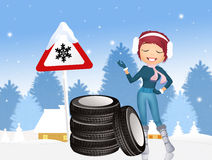 Obligation to snow tires Royalty Free Stock Photos