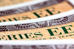 Obligations d'épargne d'épargne sur formules des Etats-Unis - série EE Photo libre de droits