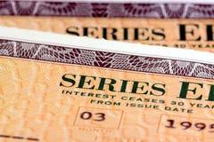 Obligations d'épargne d'épargne sur formules des Etats-Unis - série EE Photos libres de droits