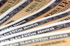 Obligations d'épargne d'épargne sur formules des Etats-Unis - série EE Photo stock