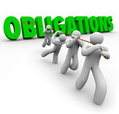 Obligations Word Pulled Up by Team Workers Together. Obligations word in green 3d letters pulled up by a team of people working together to complete Royalty Free Stock Image