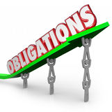 Obligations Word Team Lifting Arrow Working Together Fulfill Dut. Obligations word lifted on an arrow by a team of people working together to meet Stock Images