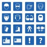 Obligatoriskt tecken, vård- konstruktion och säkerhet, vektor Arkivbild