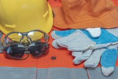 Compulsory protective equipment at work in companies stock photos