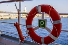 Lifebuoy on the deck of cruise ship. stock photos