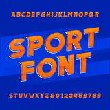 Oblique alphabet vector font. Sport style typeface for labels, titles, posters or sportswear transfers. Type letters, numbers and symbols on the blue Royalty Free Stock Images