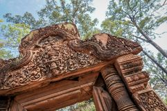 Oblique angle shot of Banteay Srei or Banteay Srey temple doorway, Royalty Free Stock Images