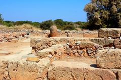 The Oblique building, Malia. View of the Oblique building within the Minoan Malia ruins archaeological site, Malia, Crete, Greece, Europe Royalty Free Stock Images