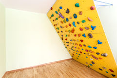 Oblique climbing wall at home Stock Image