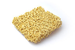 Oblique instance noodle on white background. Royalty Free Stock Image