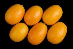 Oblique Oval Kumquats On Black Background Stock Images