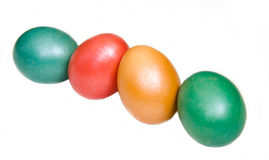 Oblique row of colored eggs Royalty Free Stock Image