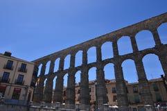 Oblique Side Shot Of The Aqueduct In Segovia. Architecture, Travel, History. June 18, 2018. Segovia Castilla Leon Spain Royalty Free Stock Images