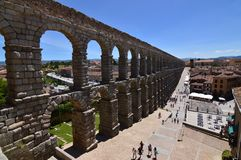 Oblique Side Shot Of The Aqueduct In Segovia. Architecture, Travel, History. June 18, 2018. Segovia Castilla Leon Spain royalty free stock photography