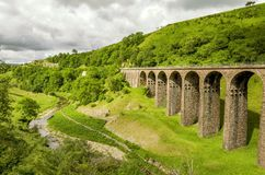 Oblique view of a disused railway viaduct in Smardale. Stock Photo