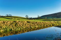 An oblique view of the Lancaster canal with Farleton Fell in the distance Stock Image