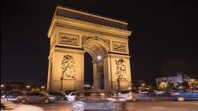 Oblique view time lapse of the arc de triomphe in paris stock video footage
