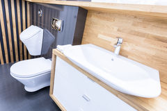 Oblique view of toilet interior Royalty Free Stock Images