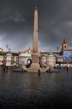 Oblisk en Piazza del Popolo, Roma Foto de archivo libre de regalías