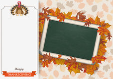 Oblong Banner Foliage Thanksgiving Turkey Blackboard Royalty Free Stock Photography