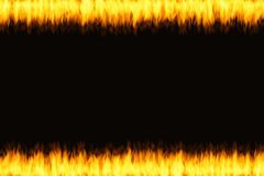 Oblong frame of fire flames over black background. For use texture Royalty Free Stock Photos