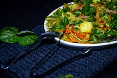 On an oblong plate is a dish of zucchini, carrots, mint, herbs, garlic. royalty free stock image