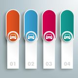 Oblong Round Banners Colored Circles Cars. Infographic design with cars and oblong banners on the gray background Royalty Free Stock Photo