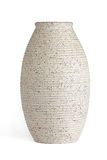 Oblong serrated edge vase. Cream colored with specks of brown. white background stock photo
