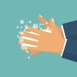 Obmycie ręki Mężczyzna mienia mydło w ręce ilustracji