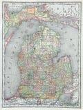 obniża mapę Michigan stary Obrazy Stock